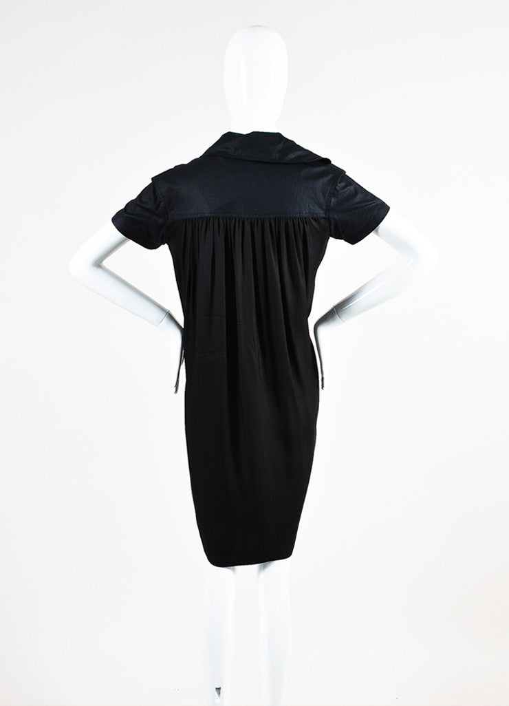Dries Van Noten Black Pleated Short Sleeve Sack Dress Backview