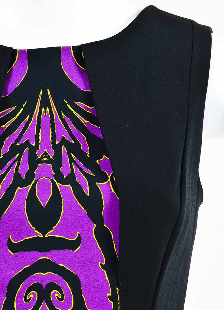 Etro Black, Purple, and Green Multi Print Overlay Bust Sheath Dress Detail