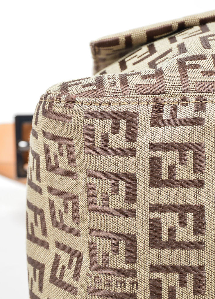 "Brown Fendi 'FF' Monogram Canvas ""Zucchino Mama Forever"" Shoulder Bag Detail"