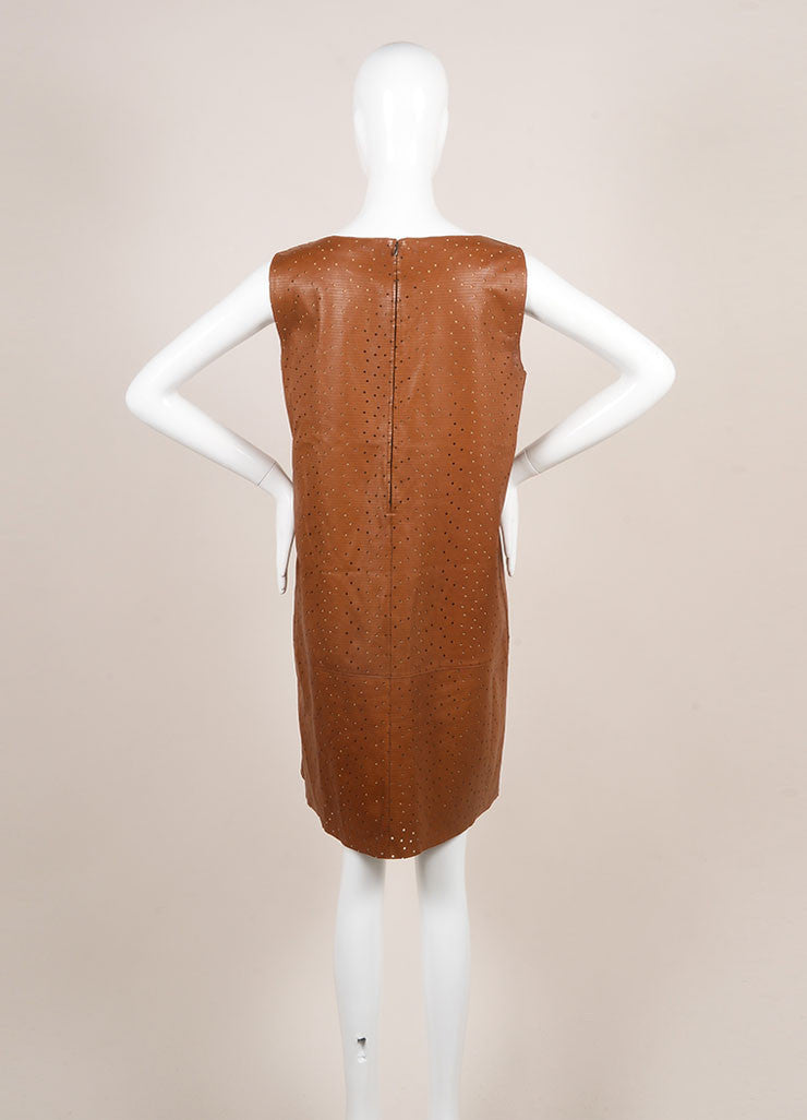 Fendi Brown Preforated Sleeveless Leather Shift Dress Backview