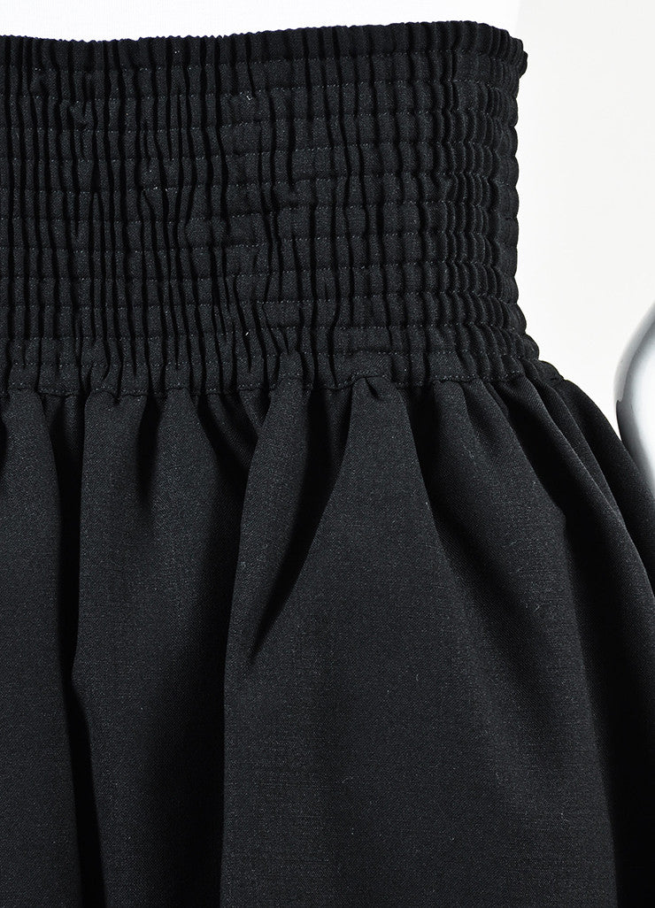 Fendi Black Virgin Wool and Silk Bubble Peplum Full Length Evening Skirt Detail
