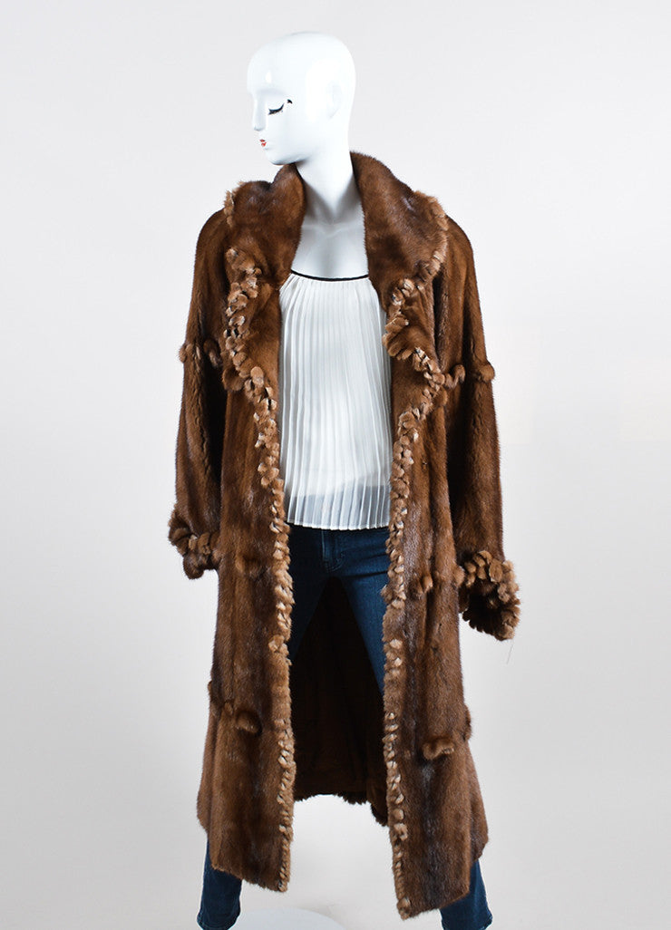 Brown ¥éËFurs By Guarino Fur Fringe Trimmed Long Coat Frontview