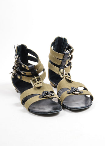 Giuseppe Zanotti for Balmain Green Canvas and Black Leather Buckle Sandals Frontview