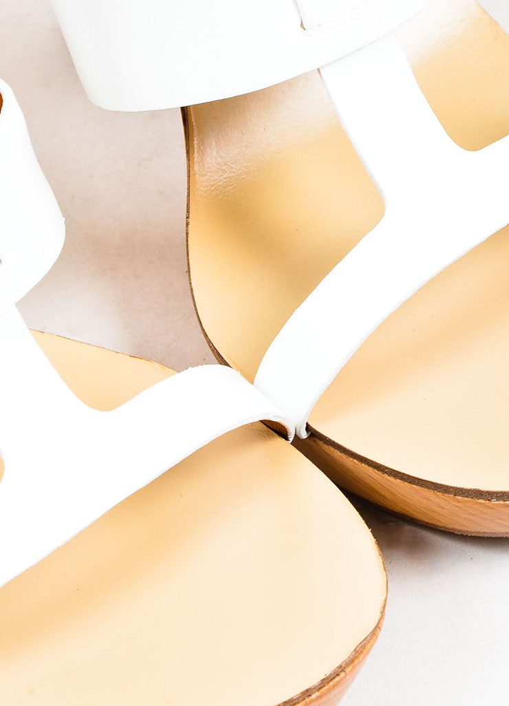 White and Tan Givenchy Patent Leather Strappy Wooden Platform Sandals Detail
