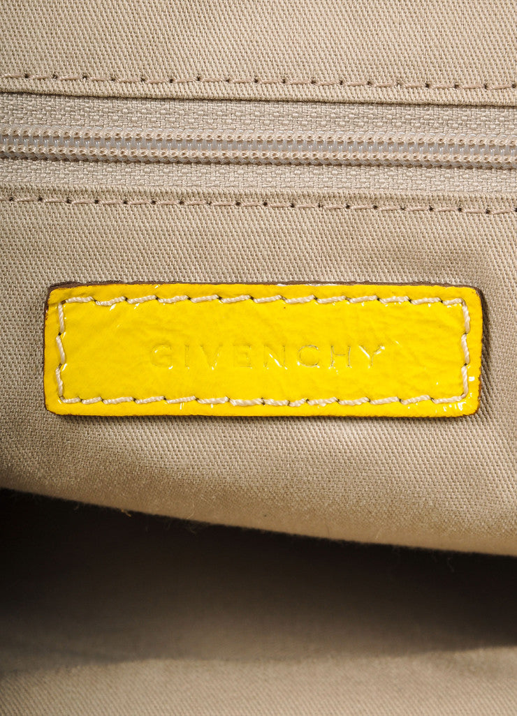 "Givenchy Canary Yellow Crinkled Patent Leather Medium ""Nightingale"" Bag Tag View 1"