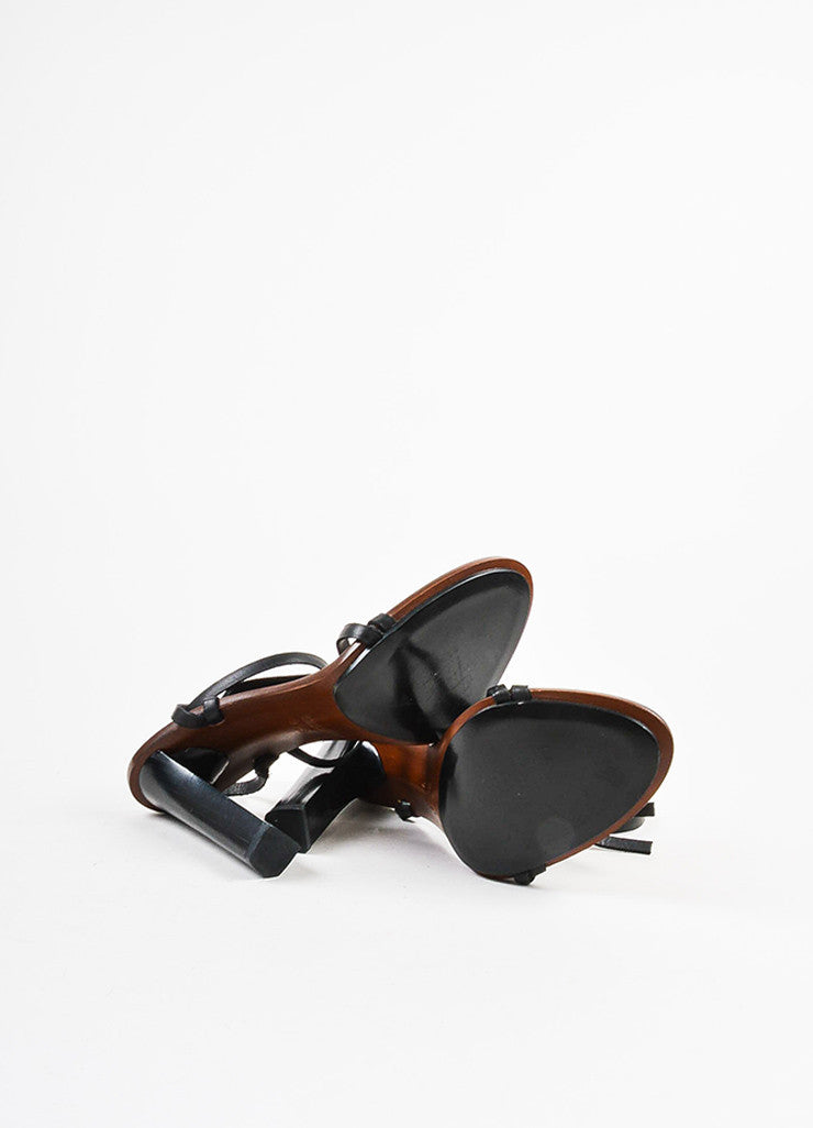 Gucci Black and Brown Leather and Wood Wraparound Strap Tower Heel Sandals Outsoles