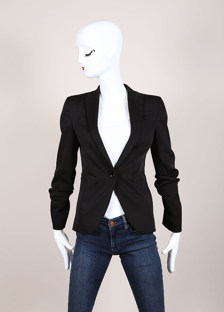 Gucci Black Sleek Fitted Peak Lapel Buttoned Blazer Frontview