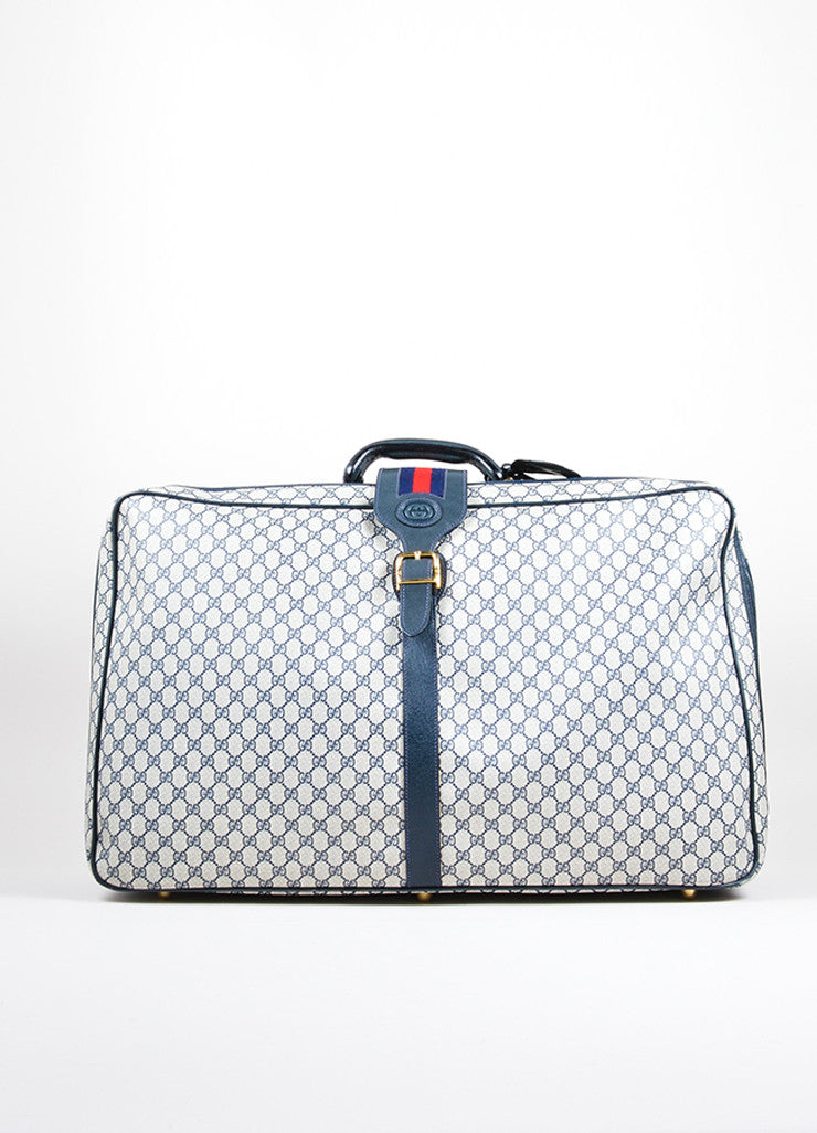 "Blue, Cream, and Red Gucci Coated Canvas and Leather ""GG"" Monogram Large Luggage Frontview"
