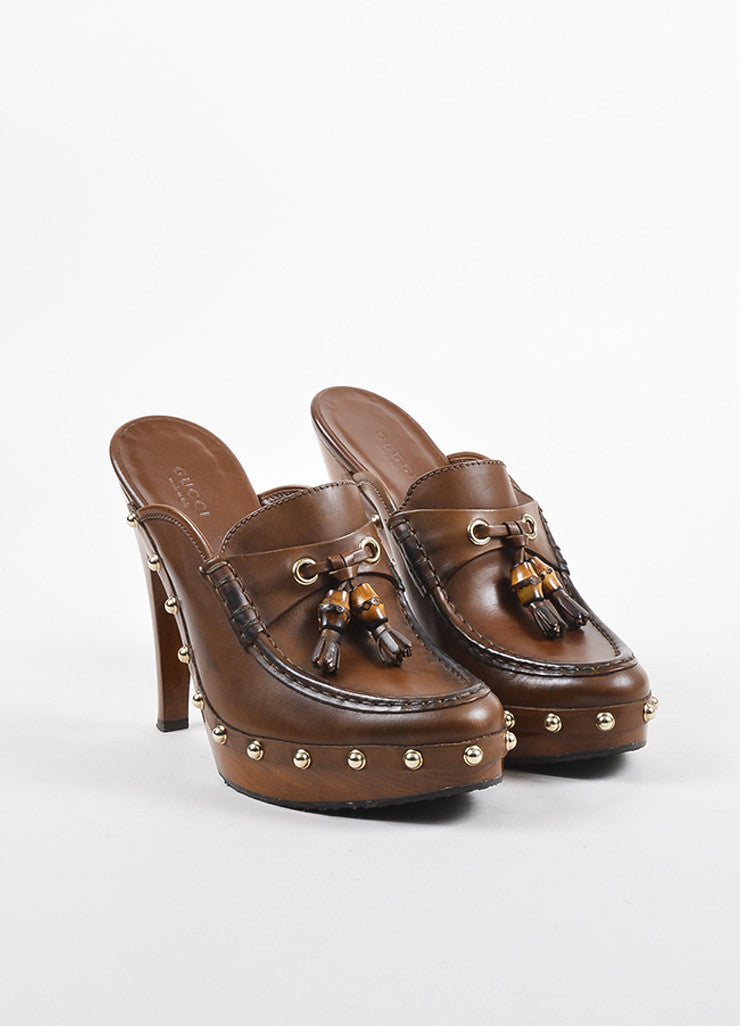 Gucci Brown Leather Wood and Bamboo Tasseled Platform Clogs Frontview