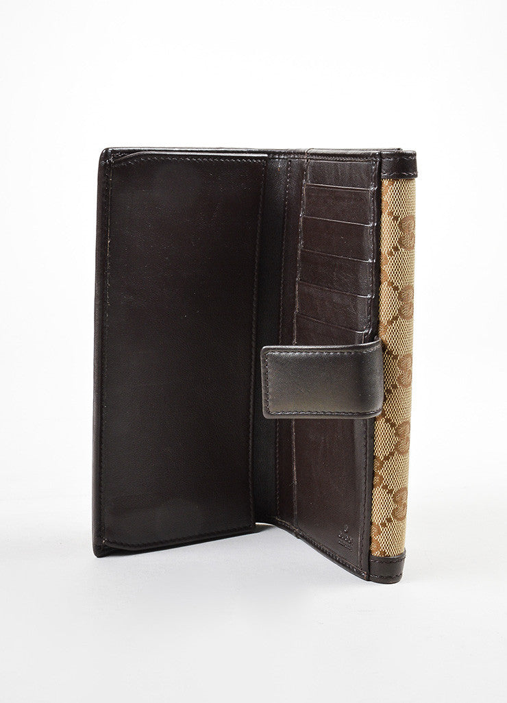 "Gucci Brown and Tan Canvas and Leather Monogram ""Interlocking G Continental"" Wallet Interior"