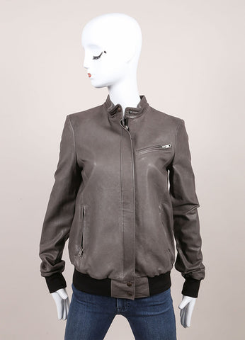 "Haider Ackermann New With Tags Grey and Black Knit Trim ""Athena"" Leather Jacket Frontview"