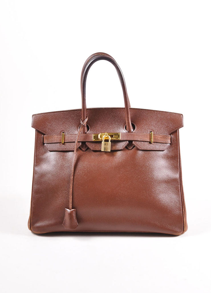 "Hermes Brown and Gold Toned Epsom Leather ""Birkin"" Handbag Frontview"