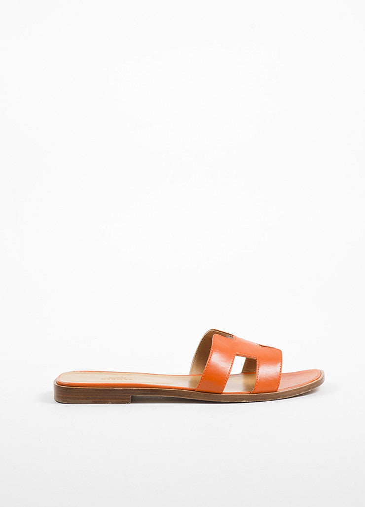 "Hermes Orange and Brown Leather Flat ""Oran"" Slide Sandals Sideview"