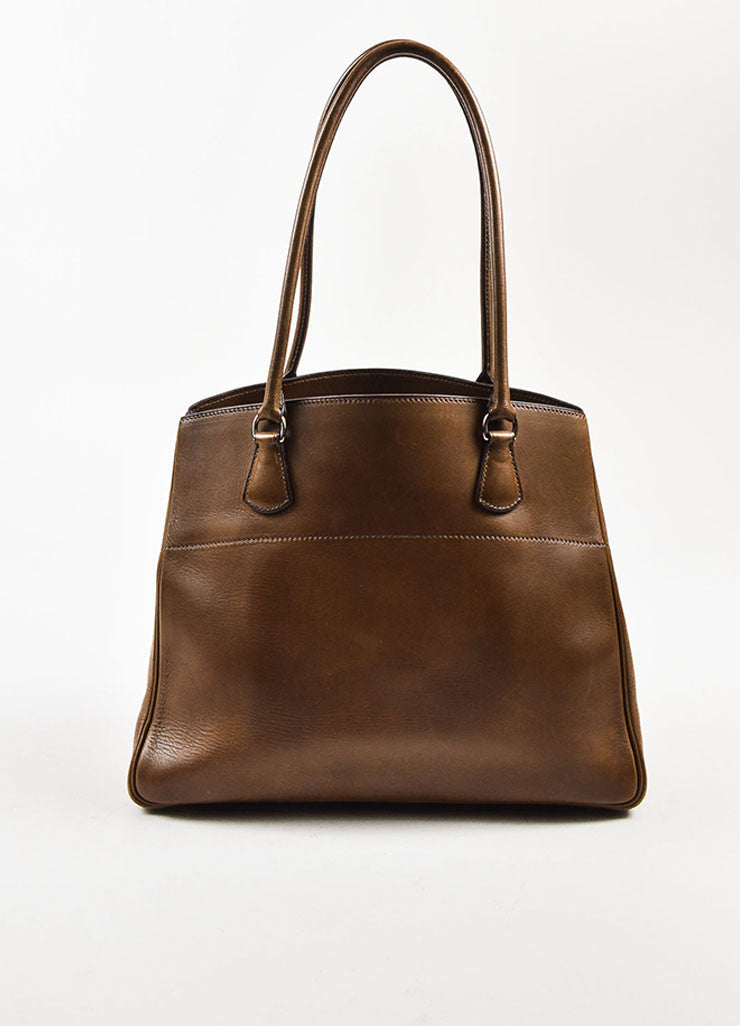 "Hermes Brown Box Calf Leather Top Handle Structured ""LA Tote"" Handbag Frontview"