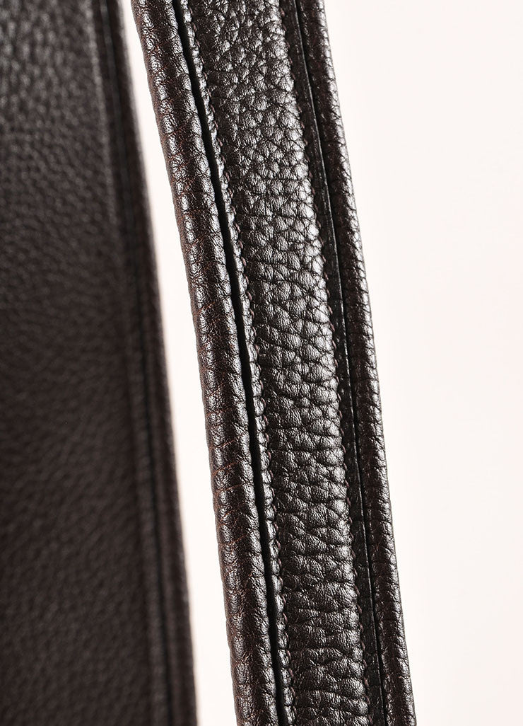 Hermes Brown Pebbled Leather Sloped Shoulder Bag Detail 2