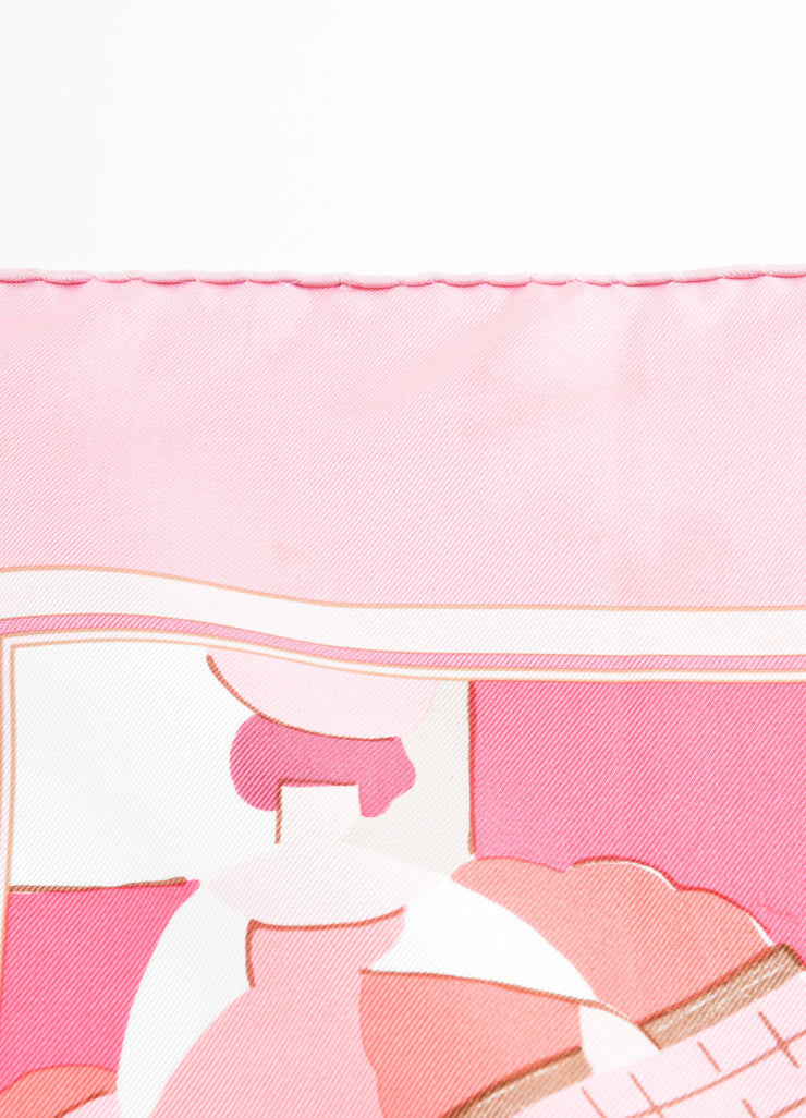 "Hermes Pink and Cream Silk ""Les Petits Metiers de Paris"" Scarf Detail 4"