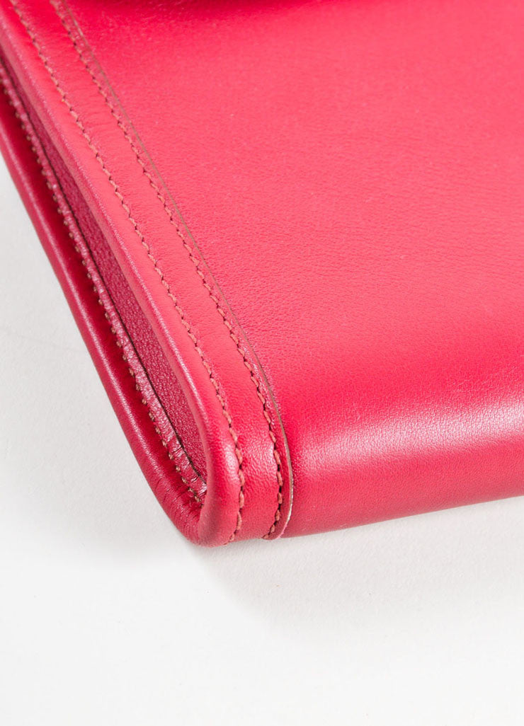 "Hermes Red ""Rouge"" Swift leather Toile Lined ""Jige PM"" Clutch Bag Detail"