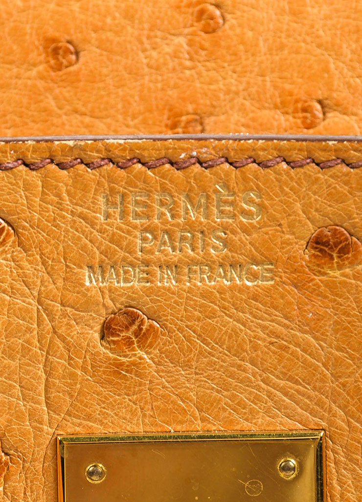 "Hermes ""Saffron"" Orange Tan Ostrich Leather 35cm ""Birkin"" Handbag Brand"