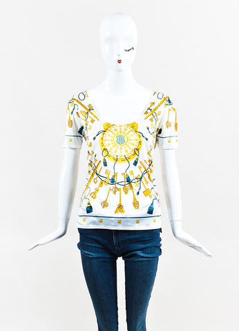 Hermes White, Gold, and Blue Silk Jersey Key Print U Neck T-Shirt Frontview