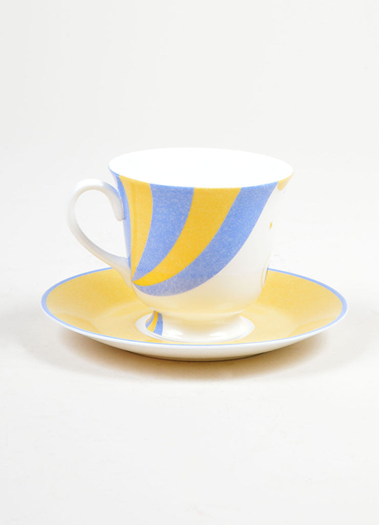 "White, Yellow and Blue Hermes Porcelain ""L' Ecuyere"" Circus Teacup & Saucer Front"