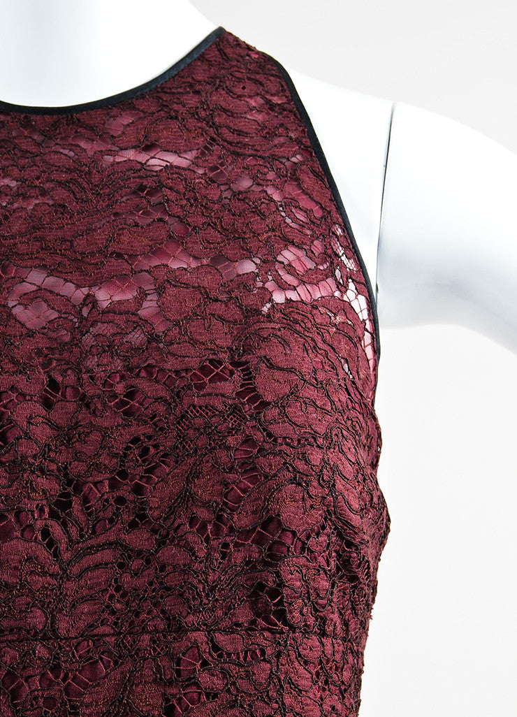 J. Mendel Maroon and Black Lace Pleated Sleeveless Cocktail Dress Detail