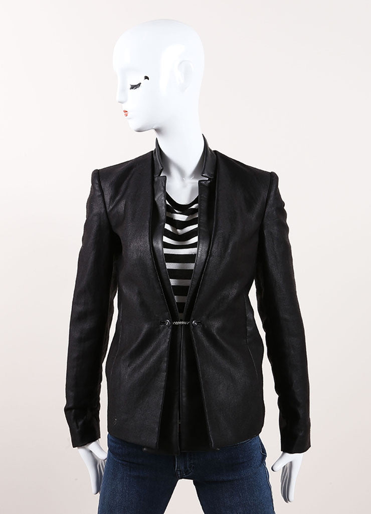 "J Brand Black Textured Cotton and Leather Trim ""Hilary"" Jacket Frontview"