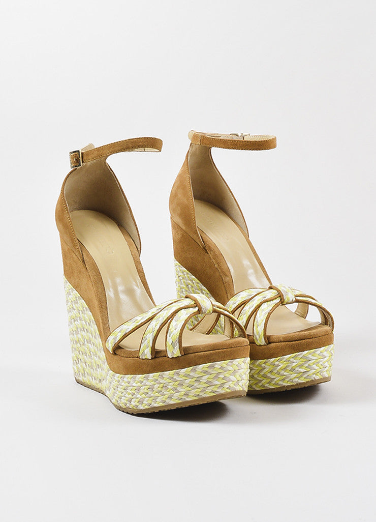 "Jimmy Choo Brown Suede Yellow and Grey Platform ""Promise"" Espadrille Wedges Frontview"