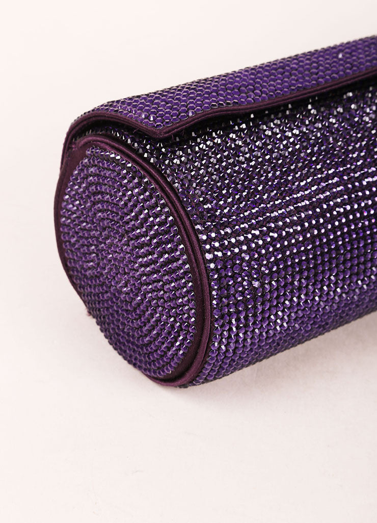 Judith Leiber Purple Crystal Rhinestone Barrel Clutch Bag Detail