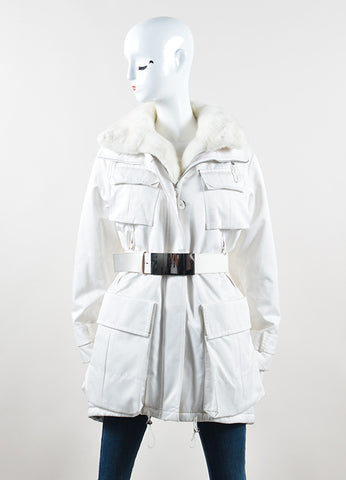"Kaufmanfranco White Mink Collar Belted ""Tech Parka"" Coat Frontview"