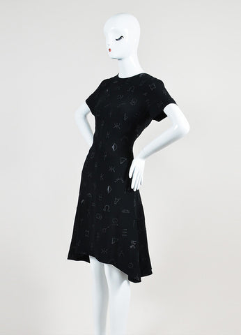 Black Kenzo Crepe Embroidered Symbols Short Sleeve Flounce Dress Sideview