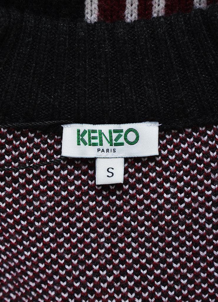 Black, Red, and White Kenzo Wool Geometric Knit Cardigan Sweater Coat Brand