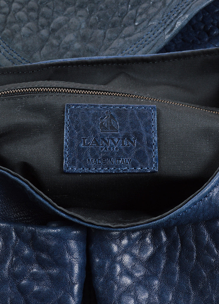 Lanvin Navy Blue Pebbled Leather Chain Strap Flap Shoulder Bag Brand