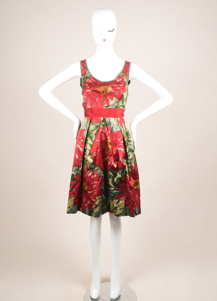 Lanvin Green, Pink, and Red Floral Print Sleeveless Pleated Dress Frontview