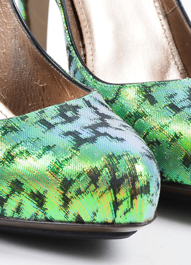 Green Lanvin Iridescent Brocade Pointed Toe Platform Pumps Detail