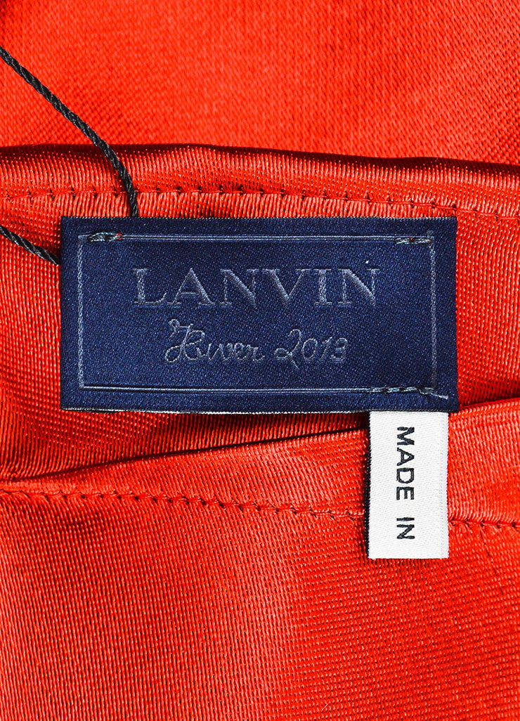 Lanvin Red Sateen Bow Draped Sleeveless Dress Brand