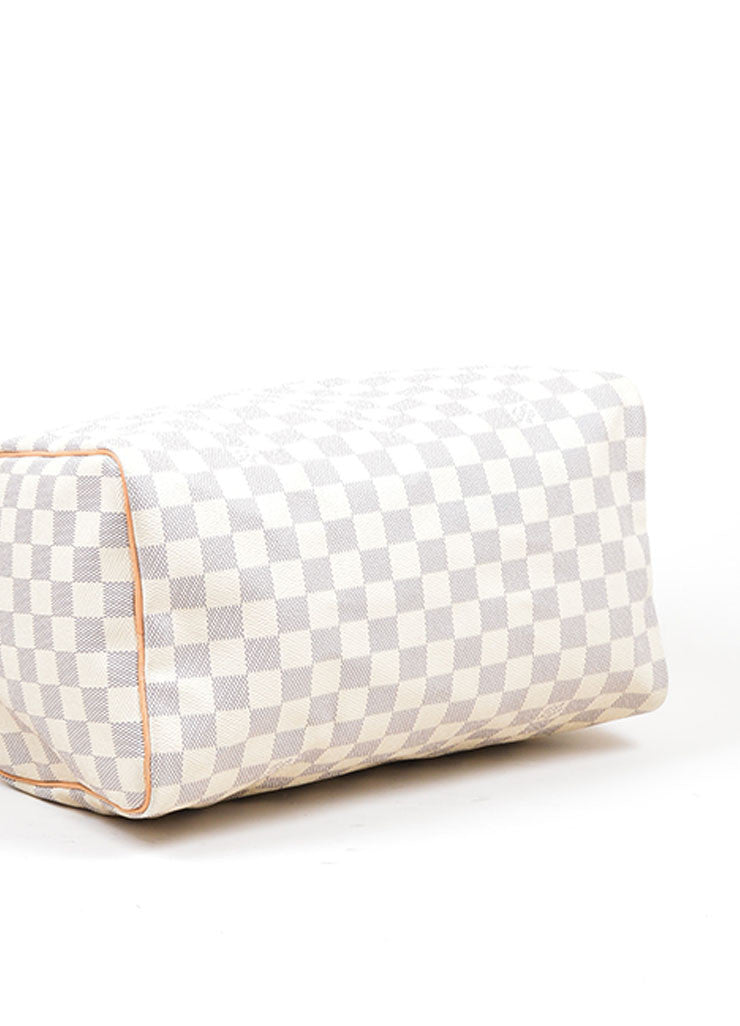 "Cream and Blue Coated Canvas and Leather ""Damier Azur Speedy 30"" Bag Bottom View"
