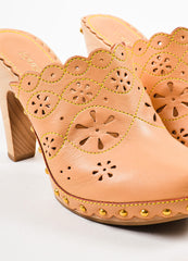 Beige Louis Vuitton Leather Eyelet and Top Stitch Clogs Detail