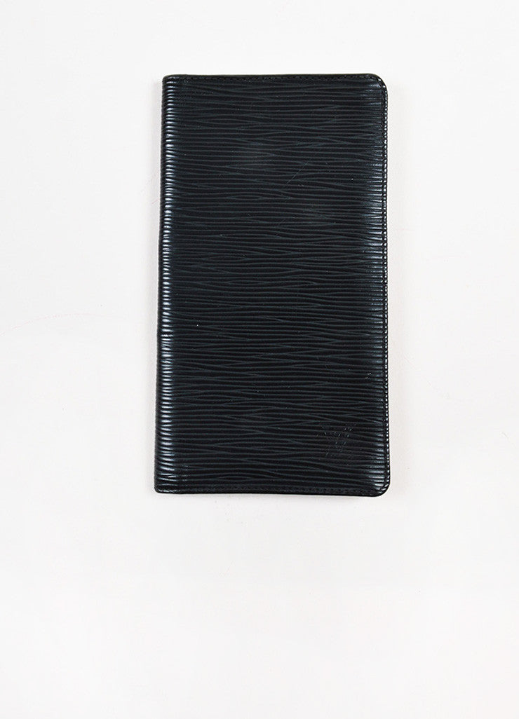 Louis Vuitton Black Epi Leather Checkbook Holder Wallet Frontview