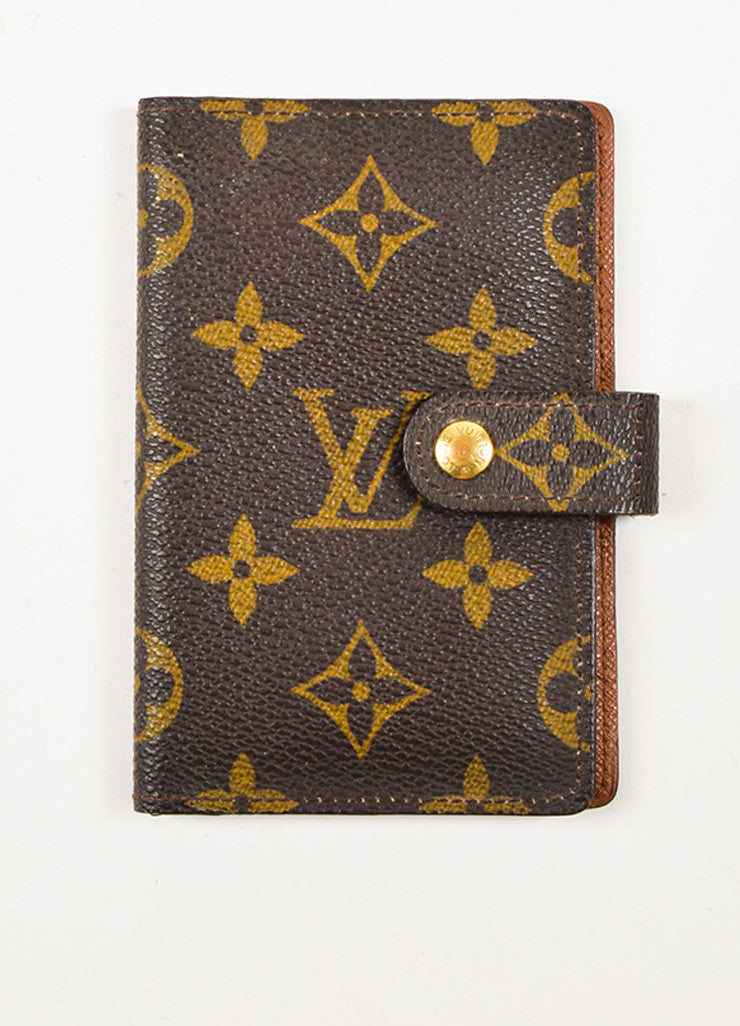 Louis Vuitton Brown and Tan Coated Canvas Monogram Bi Fold Wallet Frontview