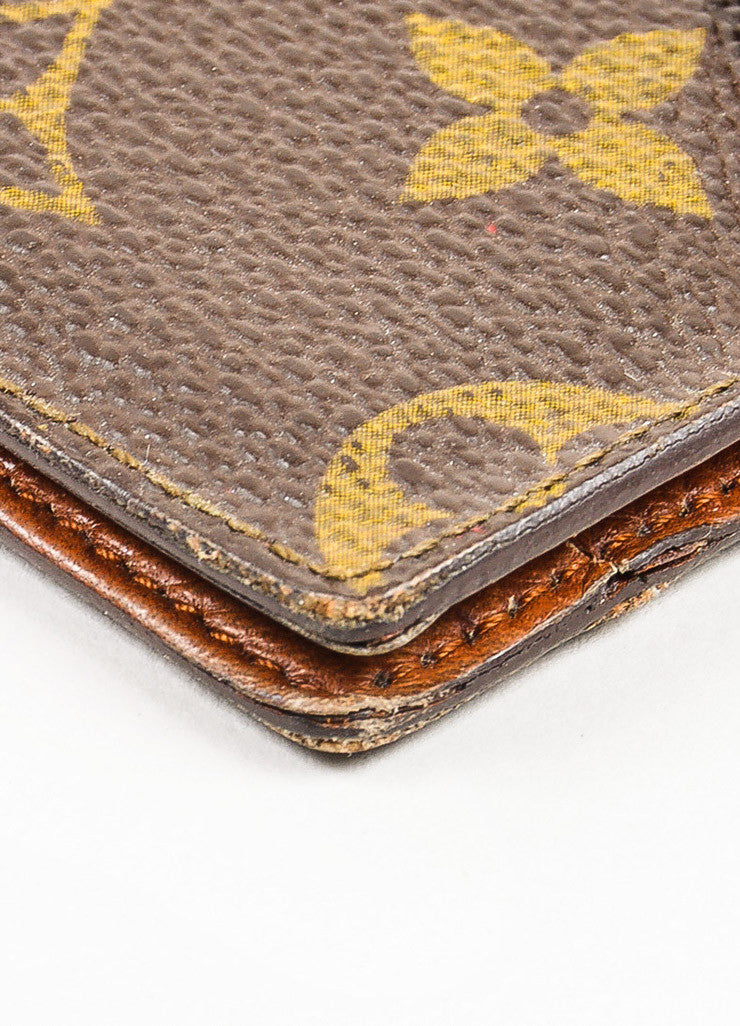 Louis Vuitton Brown and Tan Coated Canvas Monogram Snap Card Holder Wallet Detail 2