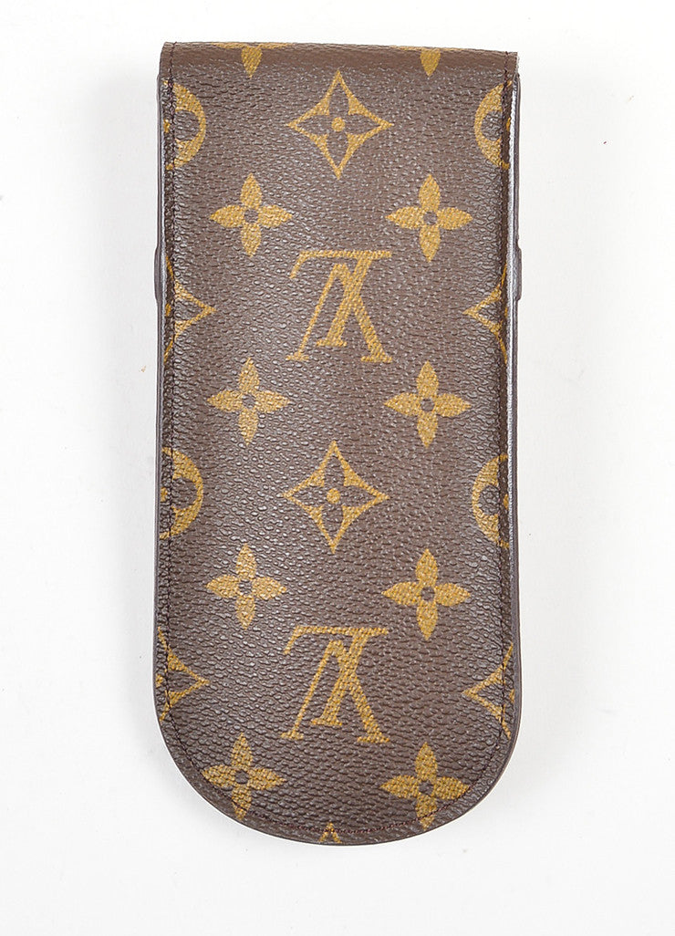 Brown and Tan Louis Vuitton Coated Canvas Monogrammed Sunglass Holder Case Backview
