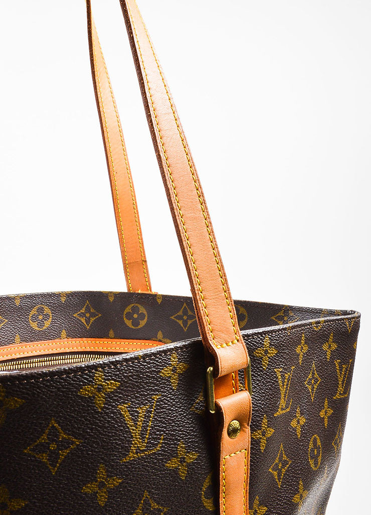 "Louis Vuitton Brown and Tan Monogram Coated Canvas ""Sac Shopping"" Tote Bag Detail 2"