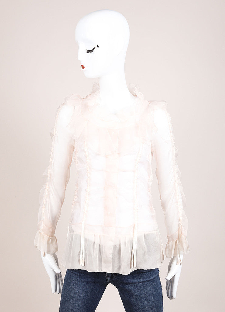 Louis Vuitton Light Pink Silk Ruffle Ribbon Trim Sheer Long Sleeve Blouse Frontview