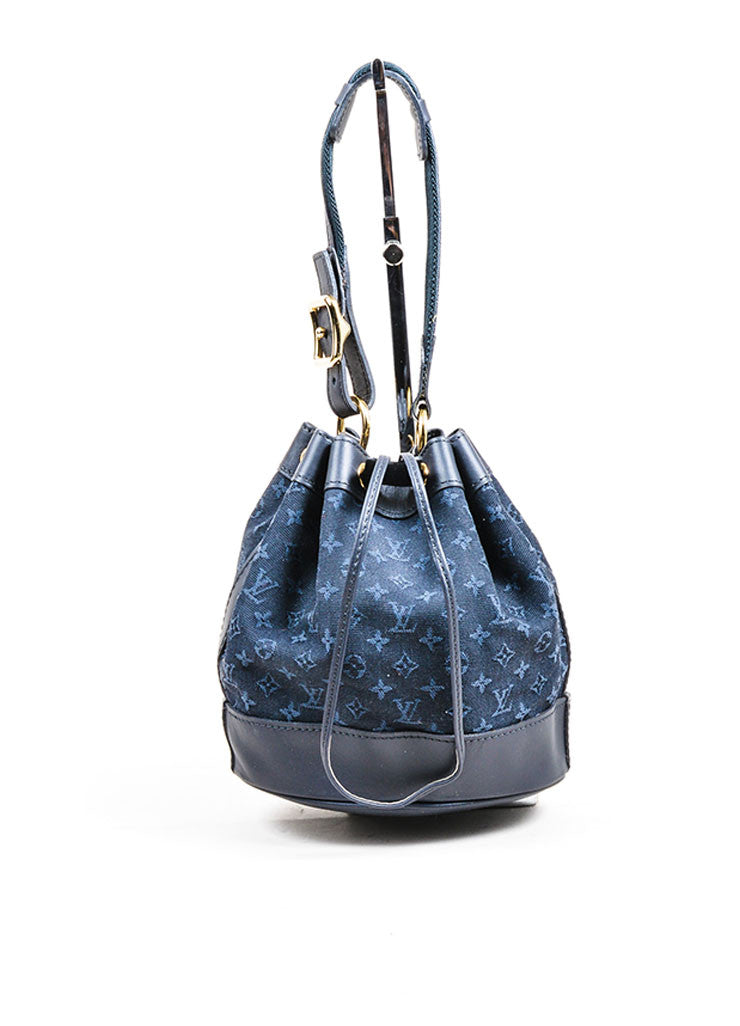 "Midnight Blue Louis Vuitton Monogram Canvas ""Mini Lin Mini Noe"" Bucket Bag Frontview"