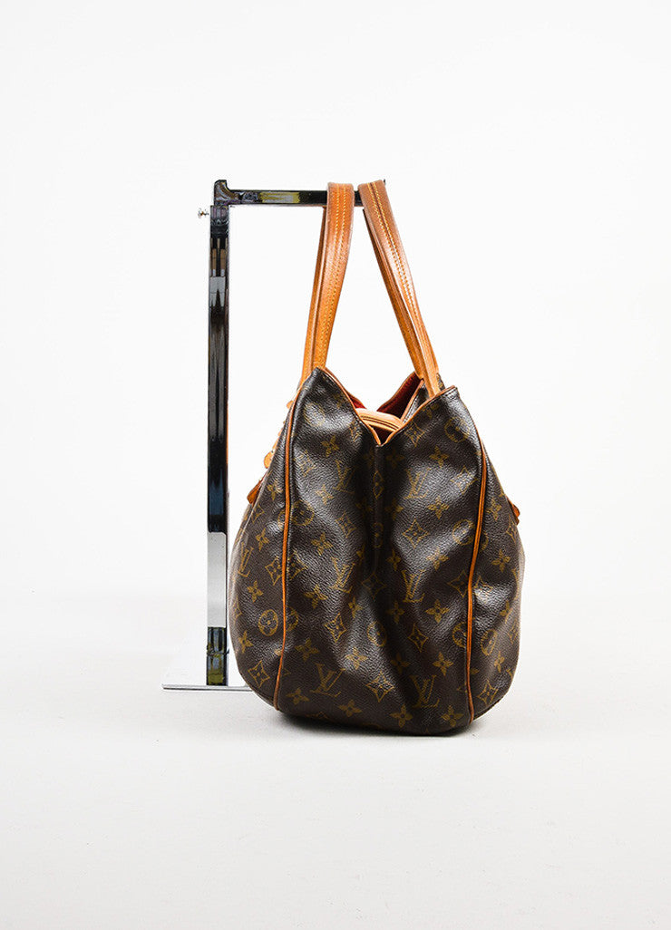 "Louis Vuitton Brown and Tan Coated Canvas Monogrammed ""Griet"" Tote Handbag Sideview"