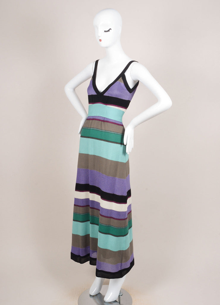 M Missoni Multicolor Stripe Knit Sleeveless Empire Waist Dress Sideview