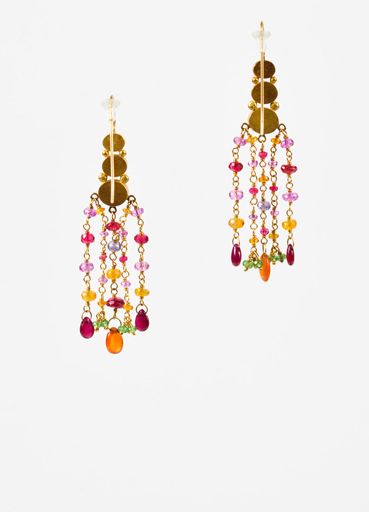 Mallary Marks 22K and 18K Yellow Gold Multicolor Pink Gemstone Chandelier Earrings Backview
