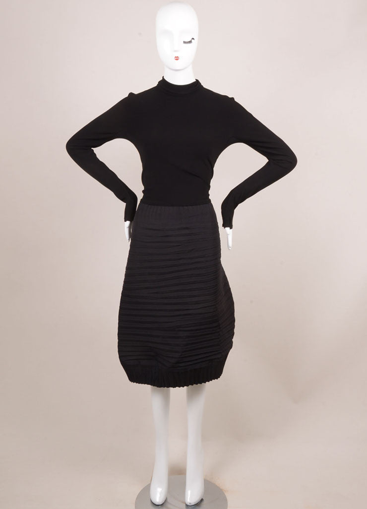 Marie Saint Pierre Black Stretch Knit Contrast Pleated Turtleneck Dress Frontview