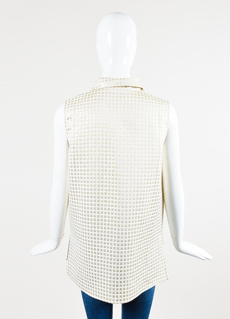 Marni Cream and Gold Metallic Cotton Blend Check Sleeveless Patch Pocket Tunic Top Backview
