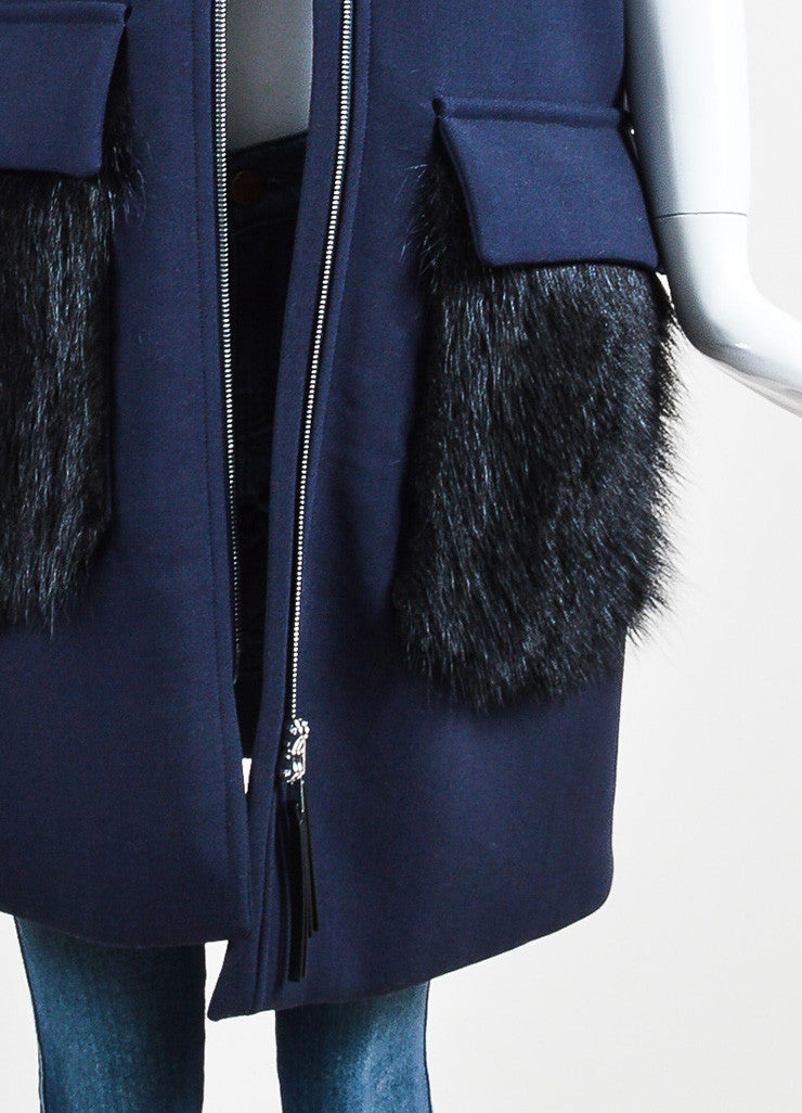 Navy Blue and Black Marni Wool Beaver Hair Pocket Hooded Vest Detail